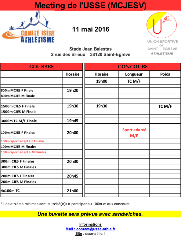 Horaires Meeting USSE n°1 - 11 mai