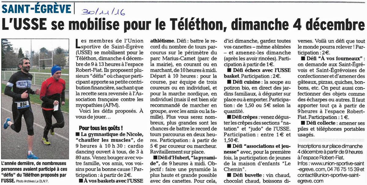 L'article du Dauphiné Libéré du 30 novembre 2016
