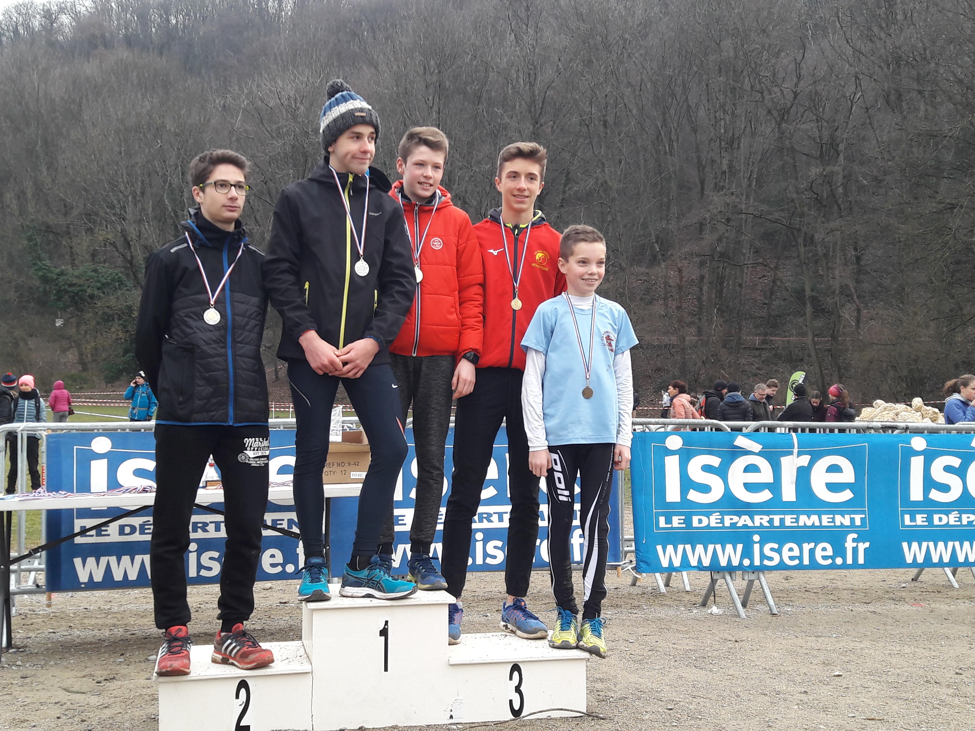 Championnats départementaux de cross 2018 podium minimes