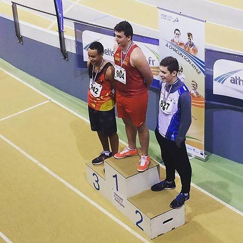 Gaëtan Jay Champion Régional AURA de lancer du poids cadets en salle 2018 à Aubière
