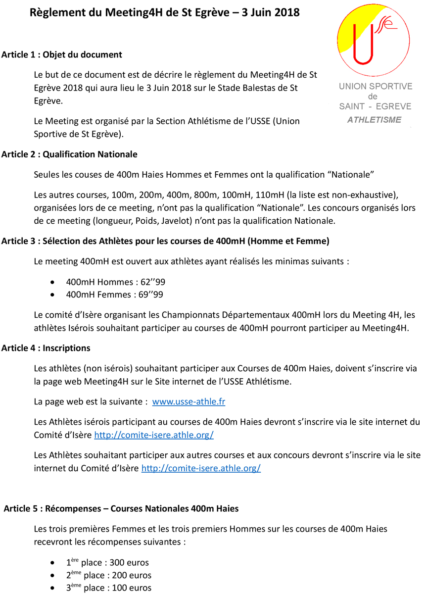 Règlement du Meeting National 4H de Saint Egrève – 3 Juin 2018