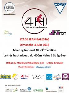 L'affiche du Meeting National 4H Saint-Egrève 2018