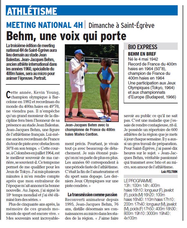 Meeting National 4H Saint-Egrève dimanche 3 juin 2018: l'article du Dauphiné Libéré du 2 juin